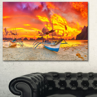 Designart Boat At Sunset Panorama Landscape Art Print Canvas - 3 Panels
