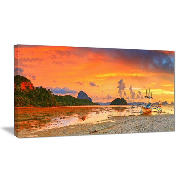 Designart Boat At Sunset Panorama Landscape Photography Canvas Print