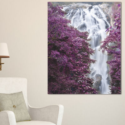 Designart Klonglan Waterfall Floral Abstract Canvas Artwork - 3 Panels