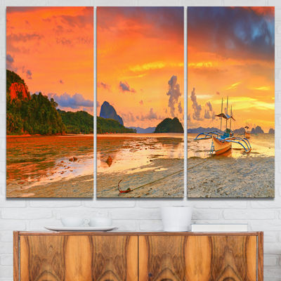 Designart Boat At Sunset Panorama Landscape Photography Canvas Print - 3 Panels