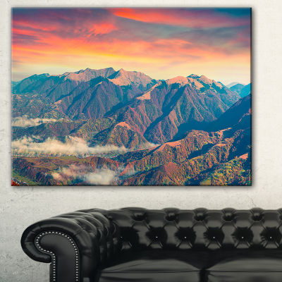Designart Kolochava Village In Morning LandscapePhotography Canvas Art Print - 3 Panels