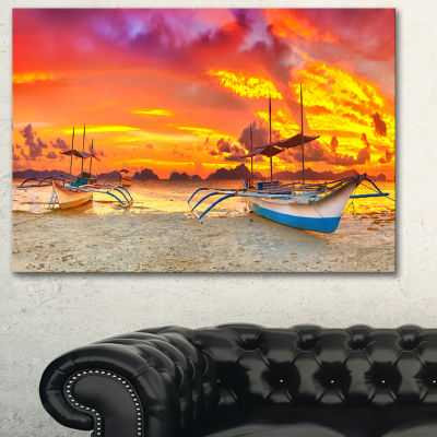 Designart Boat At Sunset Panorama Large LandscapeArt Print Canvas - 3 Panels