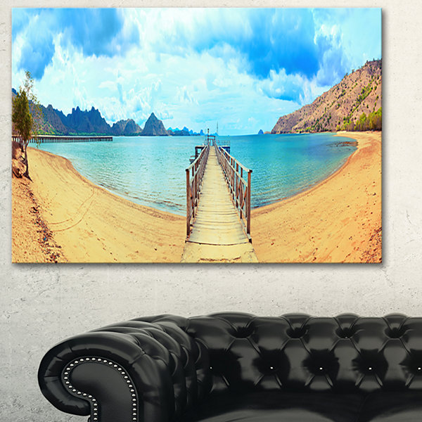 Designart Komodo Panorama With Pier Landscape Photography Canvas Print