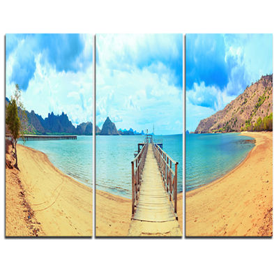 Designart Komodo Panorama With Pier Landscape Photography Canvas Print - 3 Panels