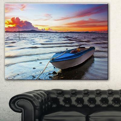 Designart Boat At The Sunset Landscape PhotographyCanvas Print - 3 Panels