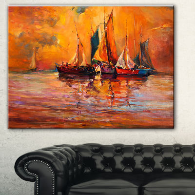 Designart Boats And Ocean In Red Seascape CanvasArt Print
