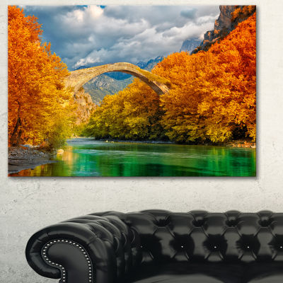 Designart Konitsa Bridge Photography Canvas Art Print - 3 Panels