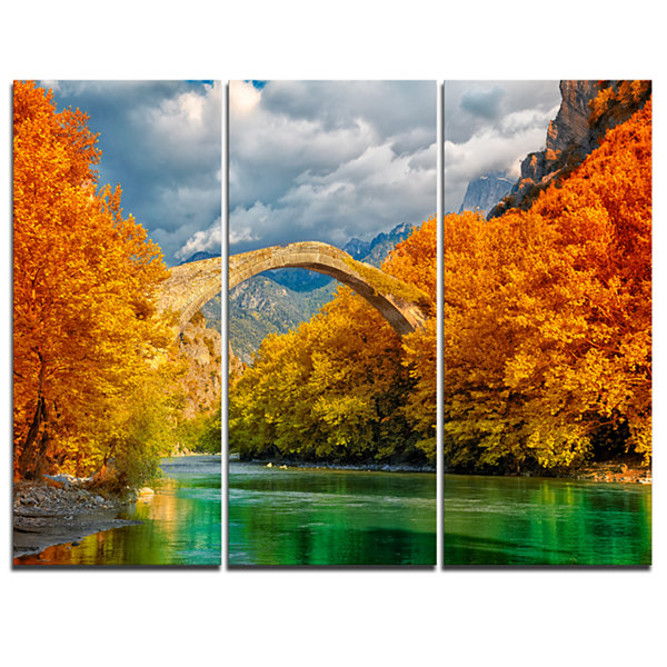 Designart Konitsa Bridge Photography Canvas Art Print - 3 Panels