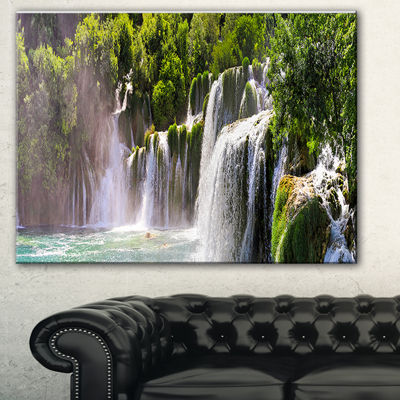 Designart Krka Waterfall Landscape Abstract CanvasArtwork