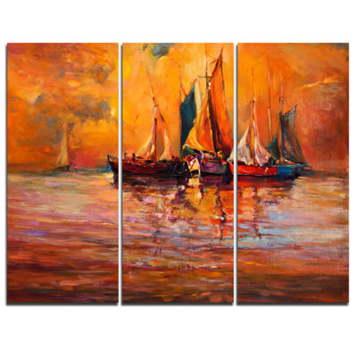 Designart Boats And Ocean In Red Seascape CanvasArt Print - 3 Panels