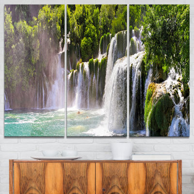 Designart Krka Waterfall Landscape Abstract CanvasArtwork - 3 Panels