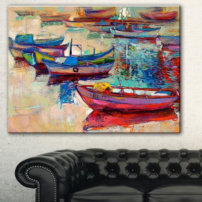 Designart Boats And Ocean Seascape Canvas Art Print - 3 Panels