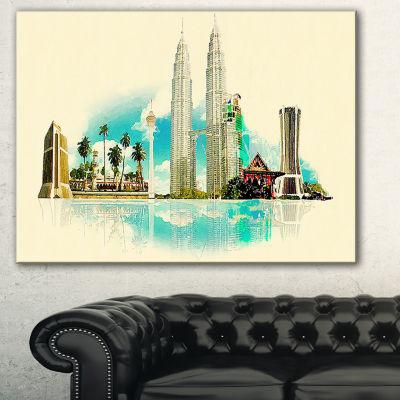 Designart Kuala Lumpur Panoramic View Cityscape Watercolor Canvas Print - 3 Panels