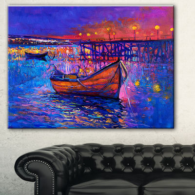 Designart Boats And The City Seascape Canvas ArtPrint - 3 Panels