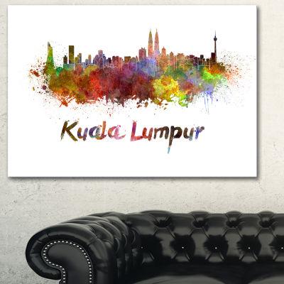 Designart Kuala Lumpur Skyline Cityscape Canvas Artwork Print - 3 Panels