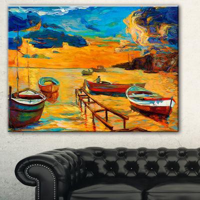 Designart Boats In Beautiful Sea Seascape CanvasArt Print - 3 Panels