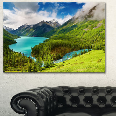 Designart Lake Amidst Lush Greenery Photography Canvas Art Print