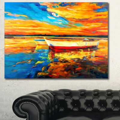 Designart Boats In Colorful Ocean Seascape CanvasArt Print - 3 Panels