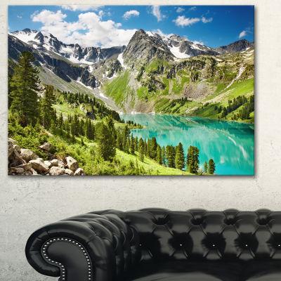 Designart Lake On Green Valley Photography Landscape Canvas Print