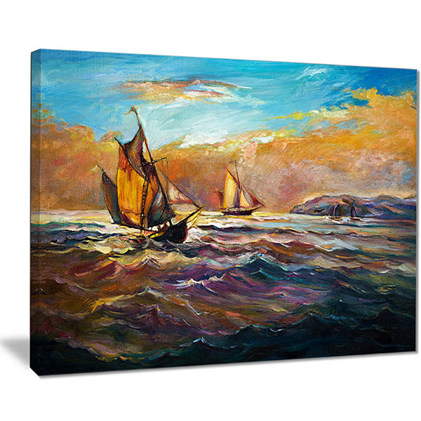 Designart Boats In Roaring Sea Seascape Canvas ArtPrint