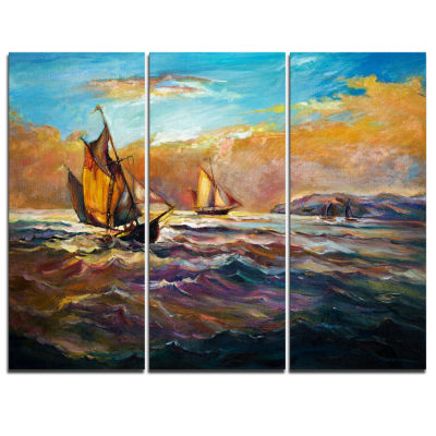 Designart Boats In Roaring Sea Seascape Canvas ArtPrint - 3 Panels