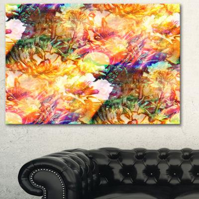 Designart Bokeh Flowers Seamless Floral Art CanvasPrint