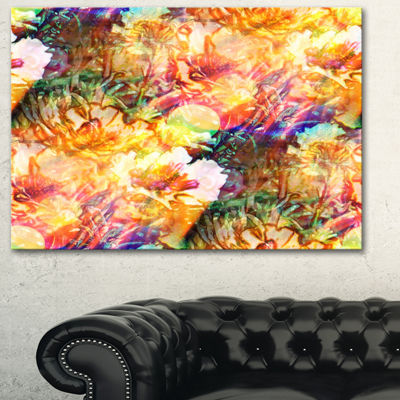 Designart Bokeh Flowers Seamless Floral Art CanvasPrint - 3 Panels