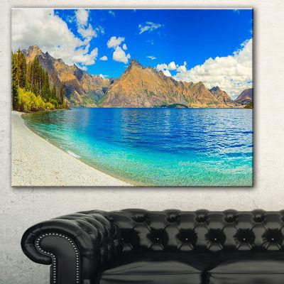 Designart Lake Wakatipu Landscape Photography Canvas Art Print - 3 Panels