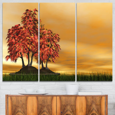 Designart Bonsai Landscape Photography Canvas ArtPrint - 3 Panels
