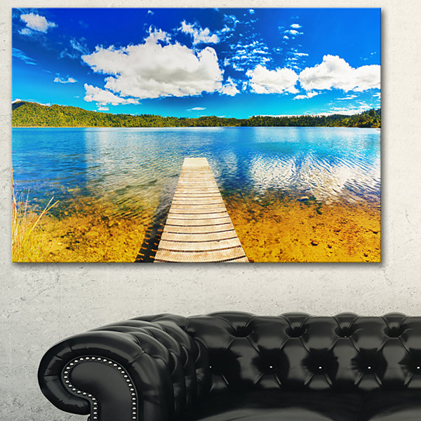 Designart Lake With Pier Panorama Photography Canvas Art Print