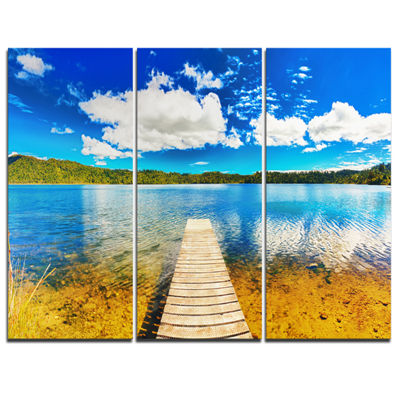 Designart Lake With Pier Panorama Photography Canvas Art Print - 3 Panels