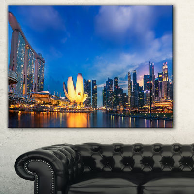 Designart Landscape Of Singapore Cityscape Photography Canvas Art Print - 3 Panels
