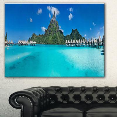Designart Bora Bora Panorama Beach Seascape CanvasArt Print - 3 Panels