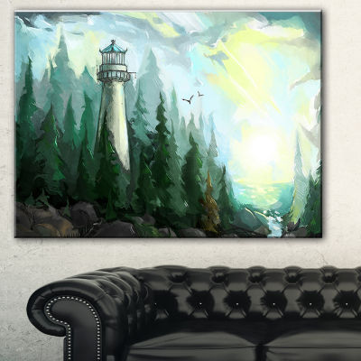 Designart Landscape With River And Trees Modern Painting Canvas Print