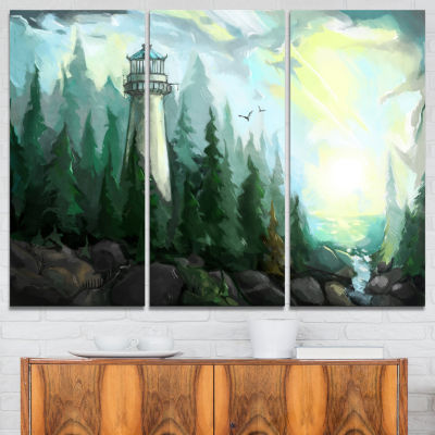 Designart Landscape With River And Trees Modern Painting Canvas Print - 3 Panels
