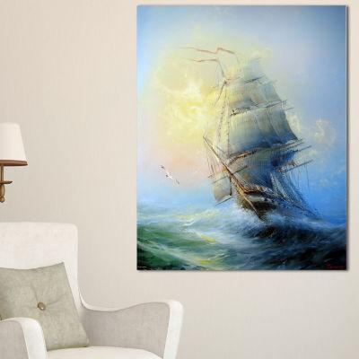 Designart Large Sailing Boat Seascape Canvas ArtPrint - 3 Panels