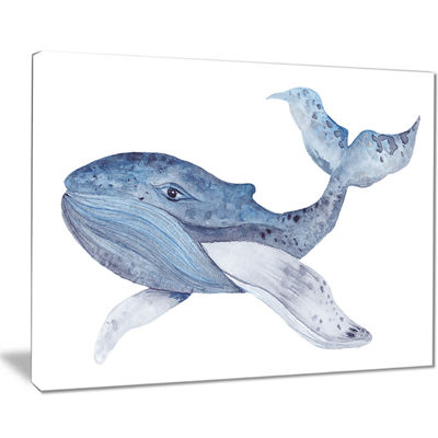 Designart Large Watercolor Whale Animal Art CanvasPrint