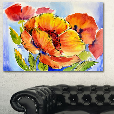 Designart Bouquet Of Full Blown Poppies Floral ArtCanvas Print