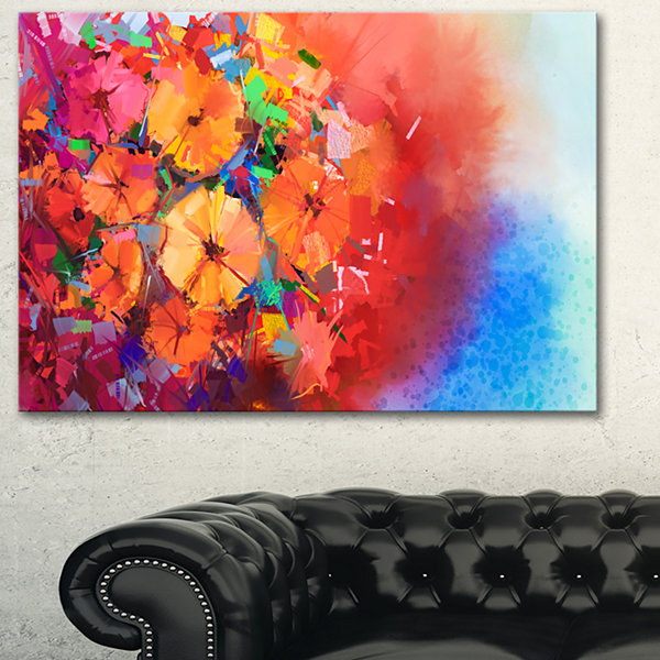 Designart Bouquet Of Gerbera Flowers Floral Art Canvas Print - 3 Panels