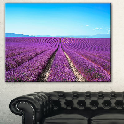 Designart Lavender Flower Blooming Fields AbstractCanvas Artwork - 3 Panels