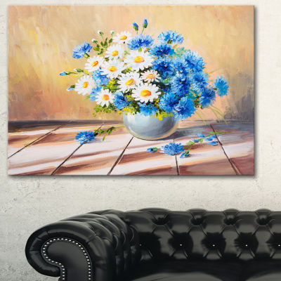 Designart Bouquet On Wooden Table Floral Art Canvas Print - 3 Panels