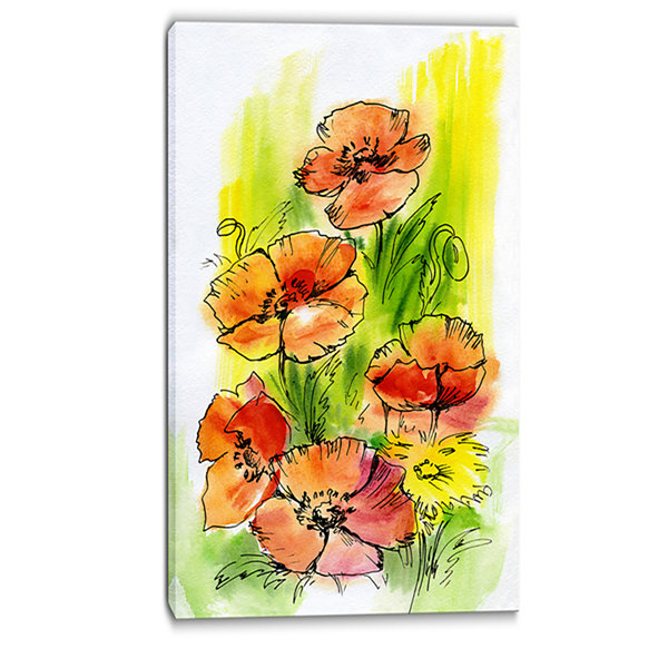 Designart Bouquet Poppies Floral Art Canvas Print