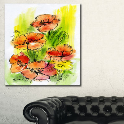 Designart Bouquet Poppies Floral Art Canvas Print-3 Panels