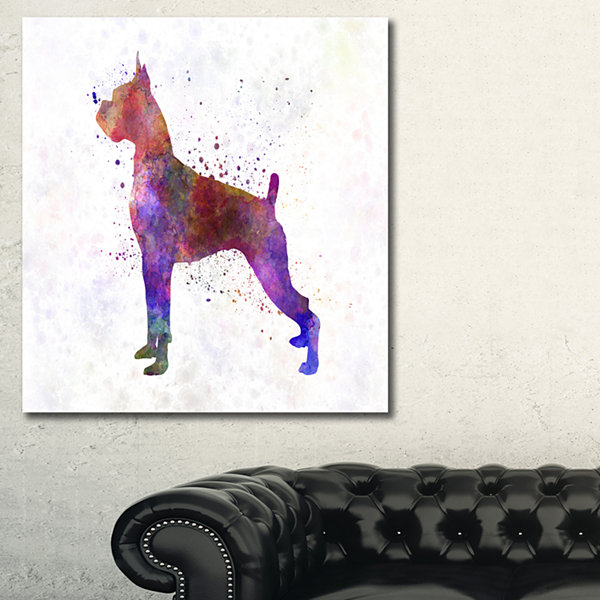Designart Boxer In Watercolor Animal Art On Canvas