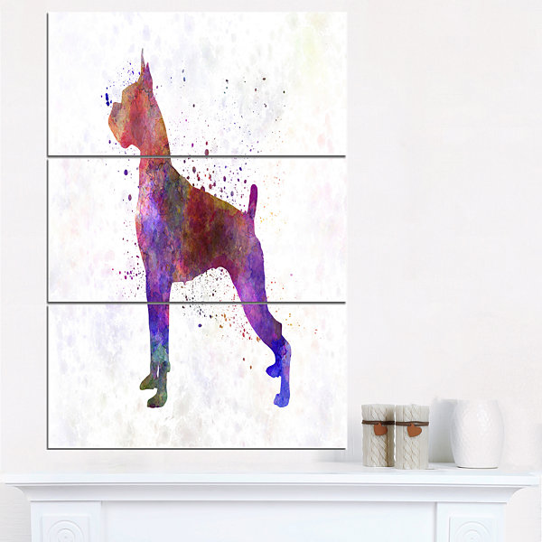 Designart Boxer In Watercolor Animal Art On Canvas- 3 Panels