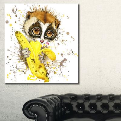 Designart Lemur Eating Banana Graphics Art AnimalCanvas Art Print - 3 Panels