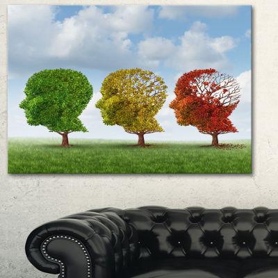 Designart Brain Aging Abstract Canvas Art Print -3 Panels
