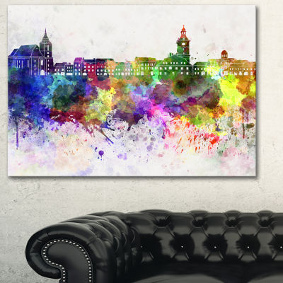 Designart Brasov Skyline Cityscape Canvas ArtworkPrint - 3 Panels