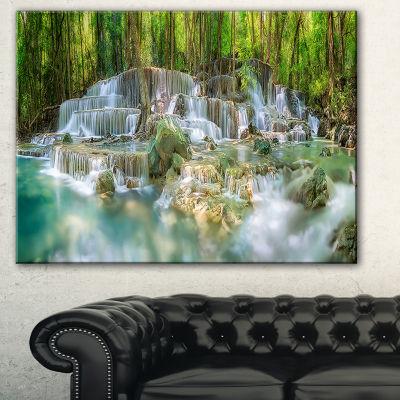 Designart Level 6 Of Huaimaekamin Waterfall Landscape Art Print Canvas - 3 Panels