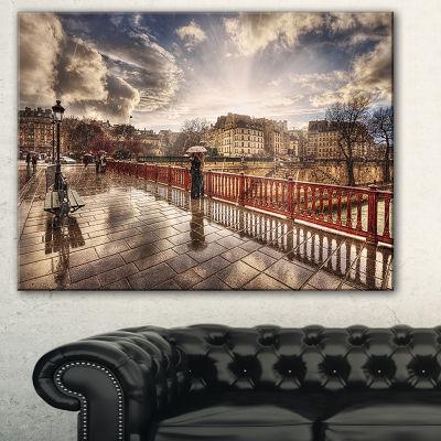 Designart Bridge In Rain Landscape Photo Canvas Art Print - 3 Panels